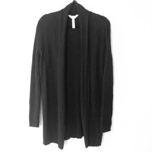 Black, Ribbed, Open Shawl Front Cardigan Sz XL